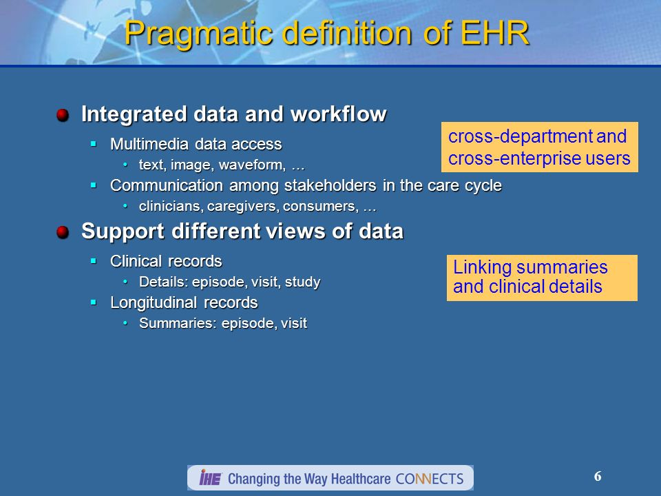 6 Pragmatic definition of EHR Integrated data and workflow Multimedia data access Multimedia data access text, image, waveform, …text, image, waveform, … Communication among stakeholders in the care cycle Communication among stakeholders in the care cycle clinicians, caregivers, consumers, …clinicians, caregivers, consumers, … Support different views of data Clinical records Clinical records Details: episode, visit, studyDetails: episode, visit, study Longitudinal records Longitudinal records Summaries: episode, visitSummaries: episode, visit cross-department and cross-enterprise users Linking summaries and clinical details