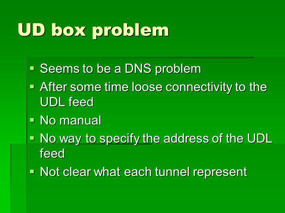 UD box problem Seems to be a DNS problem Seems to be a DNS problem After some time loose connectivity to the UDL feed After some time loose connectivity to the UDL feed No manual No manual No way to specify the address of the UDL feed No way to specify the address of the UDL feed Not clear what each tunnel represent Not clear what each tunnel represent