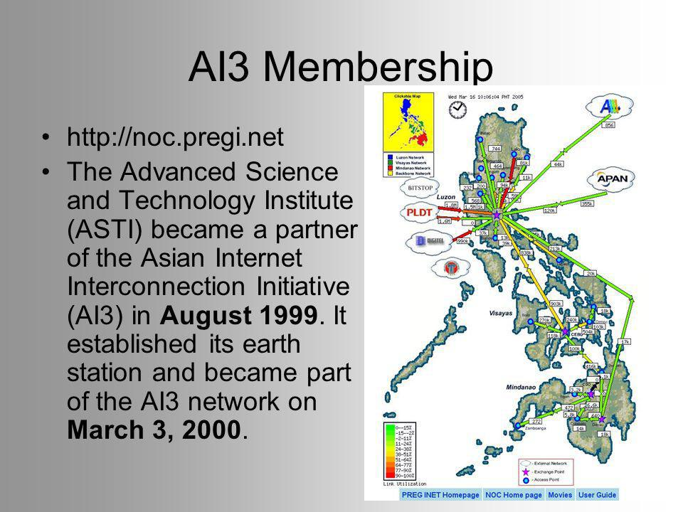AI3 Membership   The Advanced Science and Technology Institute (ASTI) became a partner of the Asian Internet Interconnection Initiative (AI3) in August 1999.