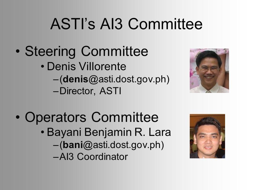 ASTIs AI3 Committee Steering Committee Denis Villorente –(denis@asti.dost.gov.ph) –Director, ASTI Operators Committee Bayani Benjamin R.
