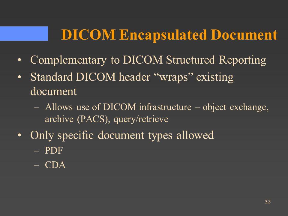 32 DICOM Encapsulated Document Complementary to DICOM Structured Reporting Standard DICOM header wraps existing document –Allows use of DICOM infrastr