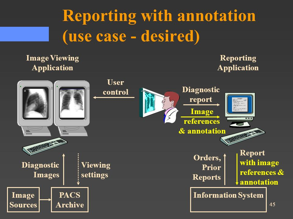45 Report with image references & annotation User control Reporting with annotation (use case - desired) Image Viewing Application Reporting Applicati