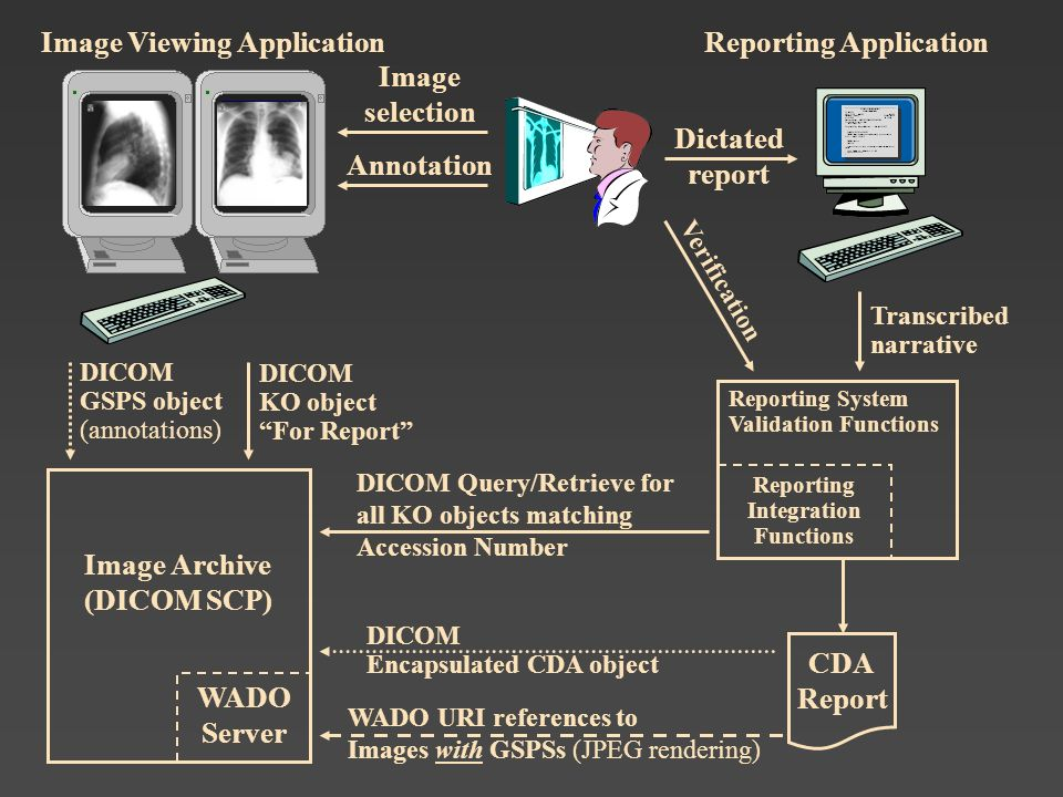 Transcribed narrative Verification Image selection Annotation Image Viewing ApplicationReporting Application Image Archive (DICOM SCP) Reporting Syste