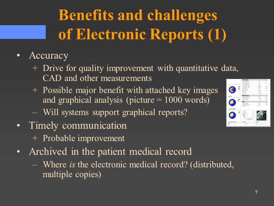 28 Key Aspects of DICOM SR SR documents are encoded using DICOM standard data elements and leverage DICOM network services (storage, query/retrieve) SR uses DICOM Patient/Study/Series information model (header), plus hierarchical tree of Content Items Extensive mandatory use of coded content –Allows use of vocabulary/codes from non-DICOM sources Templates define content constraints for specific types of documents / reports