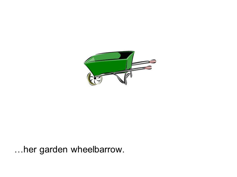 …her garden wheelbarrow.