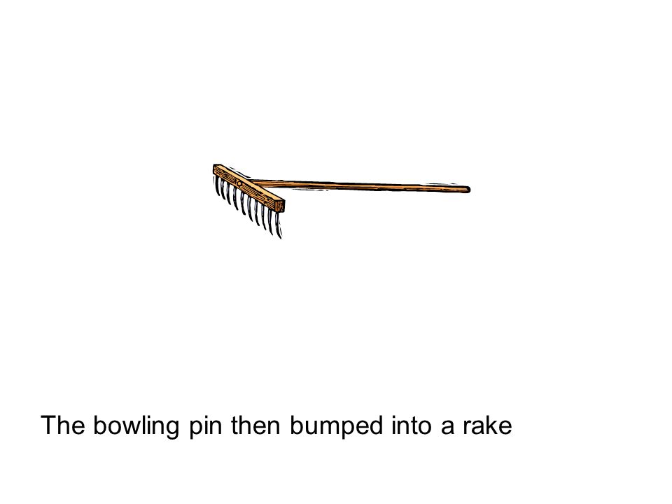 The bowling pin then bumped into a rake