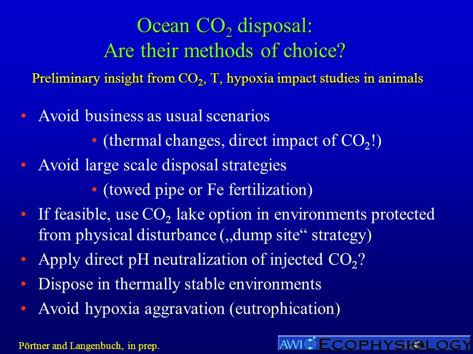 Ocean CO 2 disposal: Are their methods of choice? Preliminary insight from CO 2, T, hypoxia impact studies in animals Avoid business as usual scenario