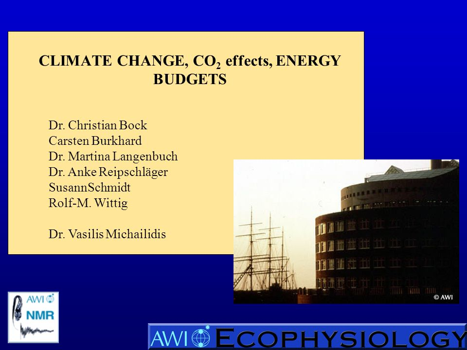 CLIMATE CHANGE, CO 2 effects, ENERGY BUDGETS Dr.Christian Bock Carsten Burkhard Dr.