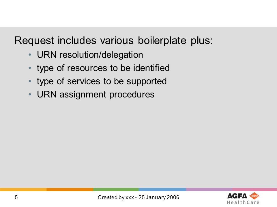 5Created by xxx - 25 January 2006 Request includes various boilerplate plus: URN resolution/delegation type of resources to be identified type of services to be supported URN assignment procedures