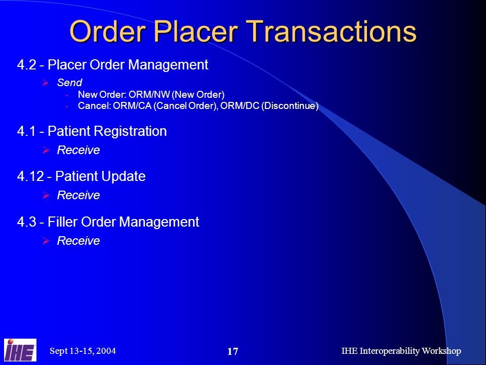 Sept 13-15, 2004IHE Interoperability Workshop 17 Order Placer Transactions 4.2 - Placer Order Management Send New Order: ORM/NW (New Order) Cancel: ORM/CA (Cancel Order), ORM/DC (Discontinue) 4.1 - Patient Registration Receive 4.12 - Patient Update Receive 4.3 - Filler Order Management Receive