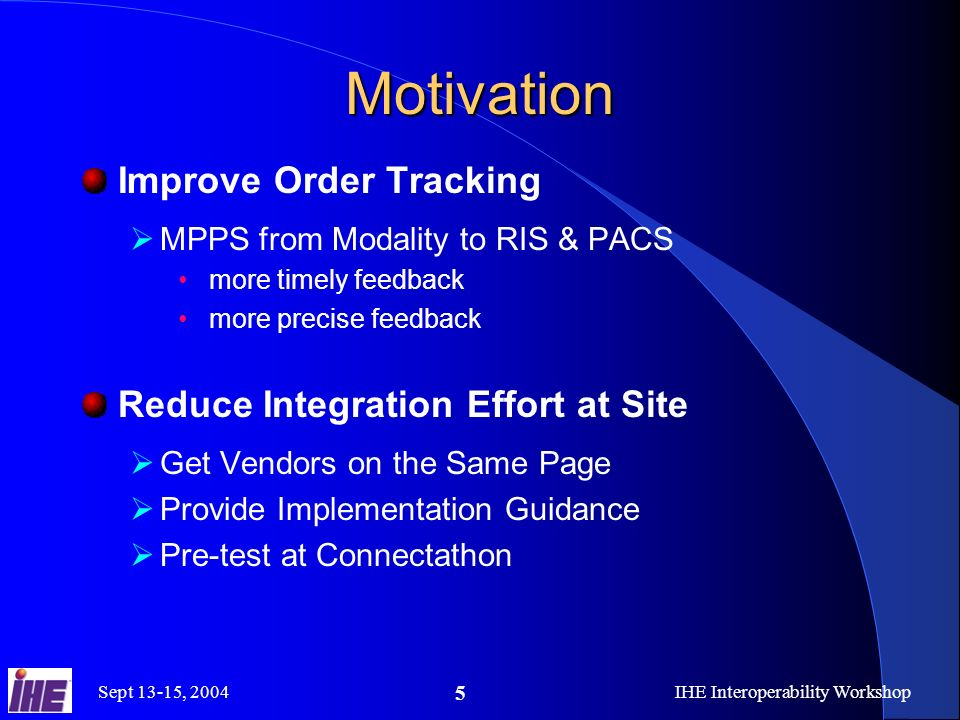 Sept 13-15, 2004IHE Interoperability Workshop 5 Motivation Improve Order Tracking MPPS from Modality to RIS & PACS more timely feedback more precise feedback Reduce Integration Effort at Site Get Vendors on the Same Page Provide Implementation Guidance Pre-test at Connectathon