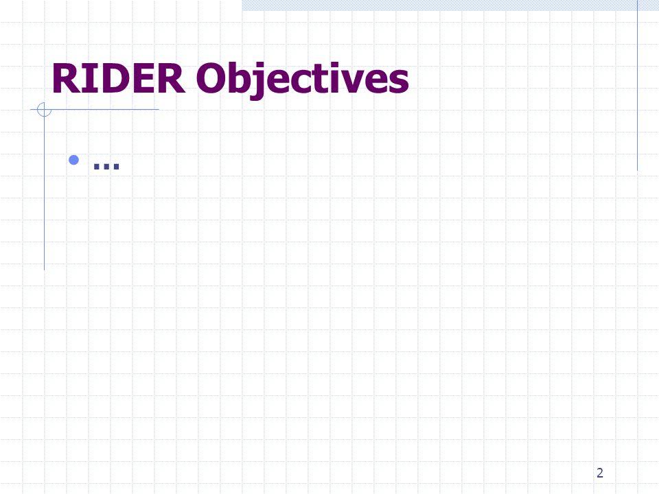 2 RIDER Objectives …