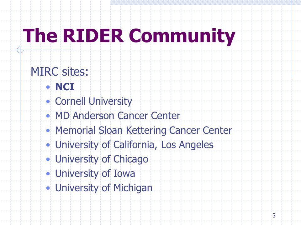 3 The RIDER Community MIRC sites: NCI Cornell University MD Anderson Cancer Center Memorial Sloan Kettering Cancer Center University of California, Los Angeles University of Chicago University of Iowa University of Michigan