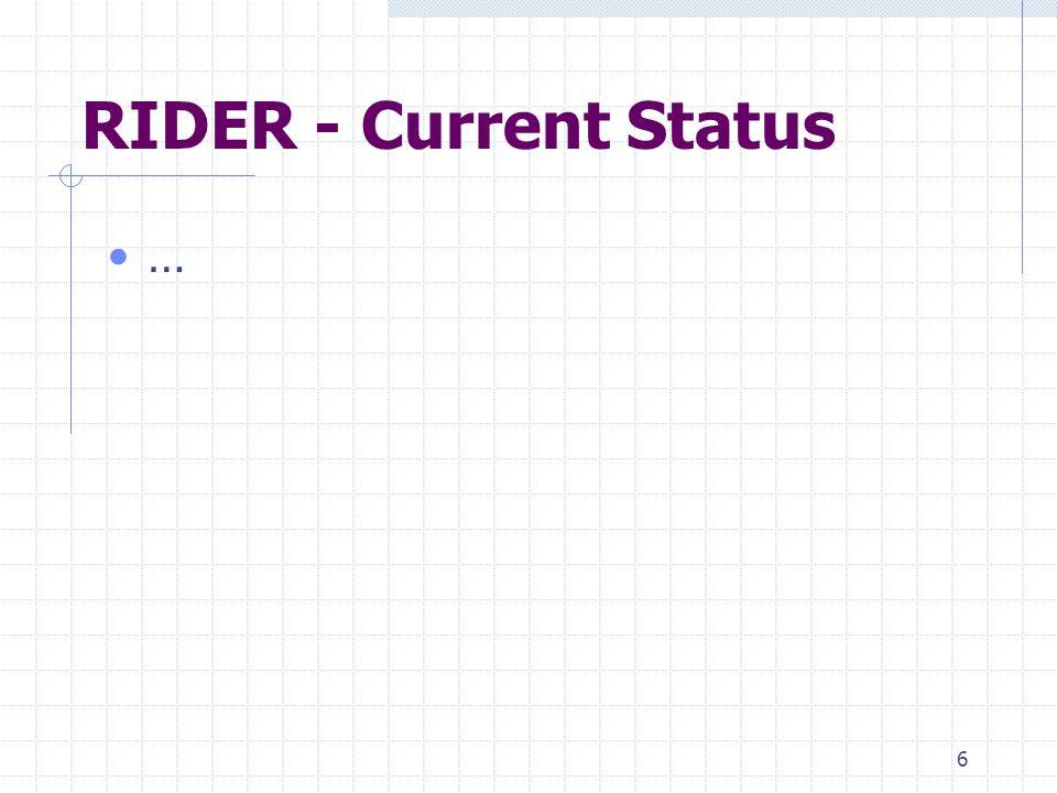 6 RIDER - Current Status …