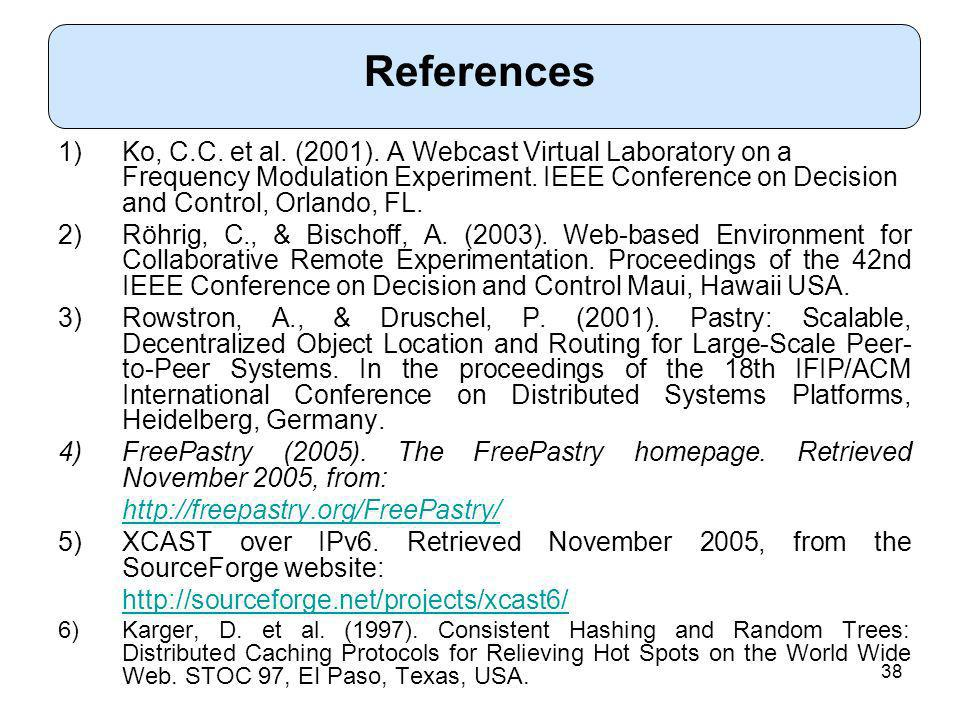 38 1)Ko, C.C. et al. (2001). A Webcast Virtual Laboratory on a Frequency Modulation Experiment.