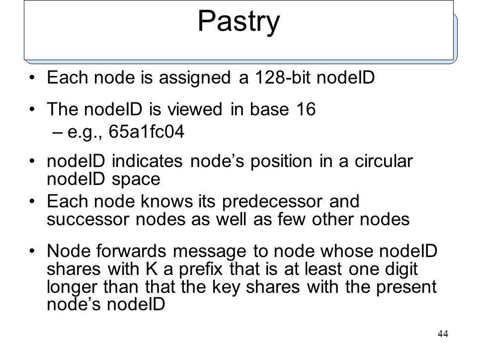 44 Pastry Each node is assigned a 128-bit nodeID The nodeID is viewed in base 16 –e.g., 65a1fc04 nodeID indicates nodes position in a circular nodeID space Each node knows its predecessor and successor nodes as well as few other nodes Node forwards message to node whose nodeID shares with K a prefix that is at least one digit longer than that the key shares with the present nodes nodeID