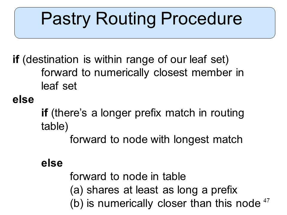 47 Pastry Routing Procedure if (destination is within range of our leaf set) forward to numerically closest member in leaf set else if (theres a longer prefix match in routing table) forward to node with longest match else forward to node in table (a) shares at least as long a prefix (b) is numerically closer than this node