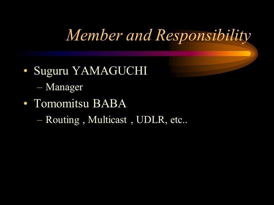 Member and Responsibility Suguru YAMAGUCHI –Manager Tomomitsu BABA –Routing, Multicast, UDLR, etc..