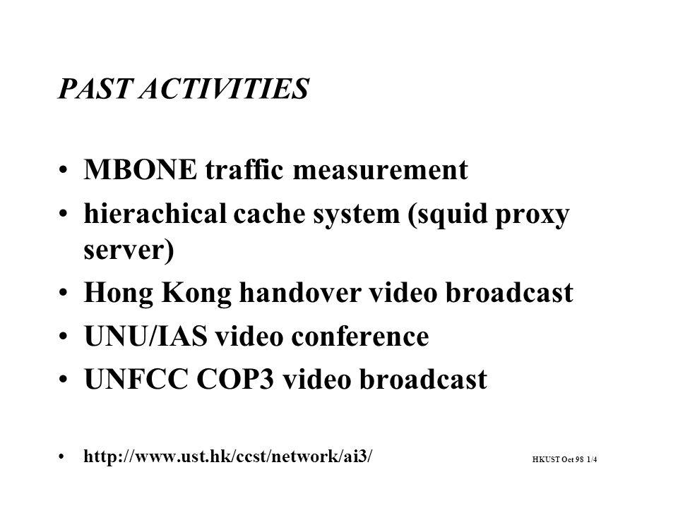 PAST ACTIVITIES MBONE traffic measurement hierachical cache system (squid proxy server) Hong Kong handover video broadcast UNU/IAS video conference UN