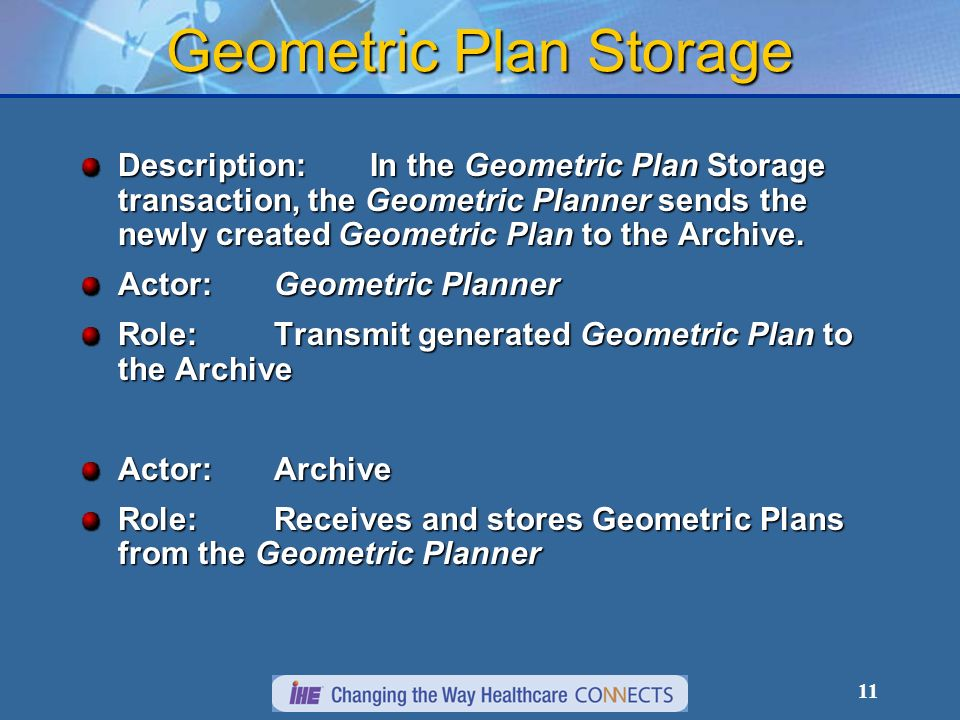 11 Geometric Plan Storage Description:In the Geometric Plan Storage transaction, the Geometric Planner sends the newly created Geometric Plan to the Archive.
