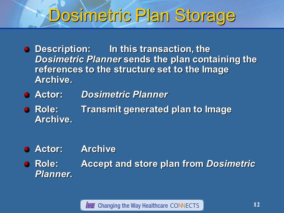 12 Dosimetric Plan Storage Description:In this transaction, the Dosimetric Planner sends the plan containing the references to the structure set to the Image Archive.