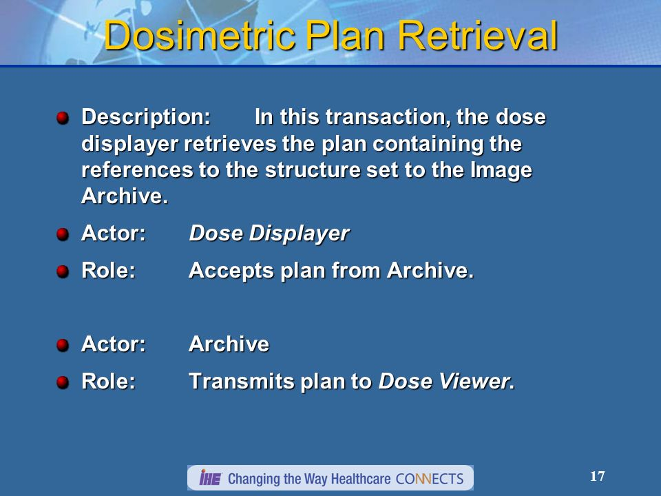 17 Dosimetric Plan Retrieval Description:In this transaction, the dose displayer retrieves the plan containing the references to the structure set to the Image Archive.