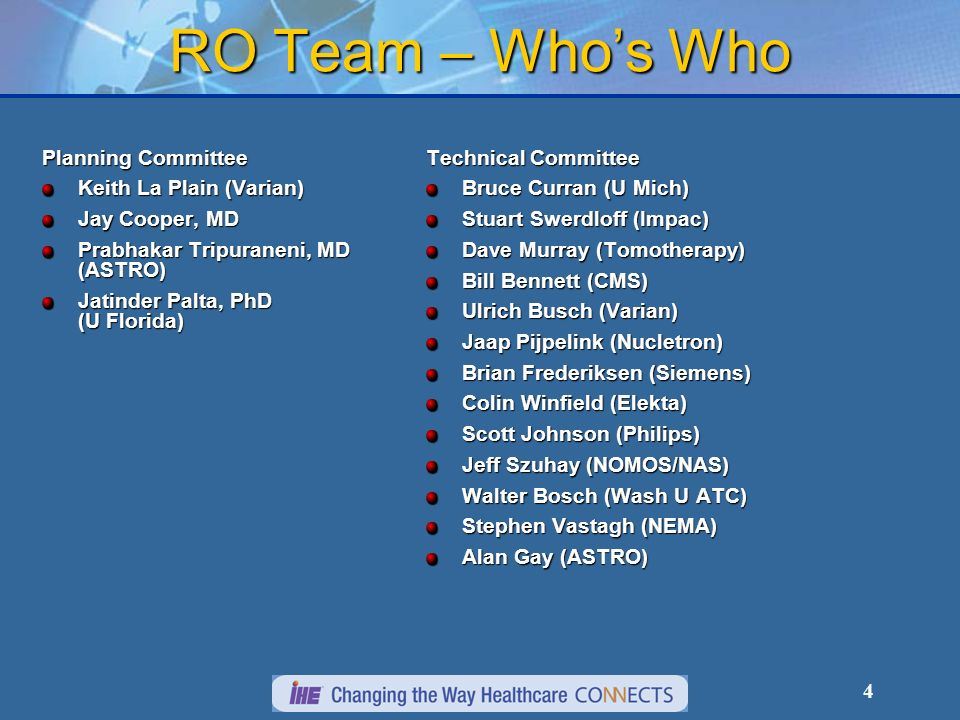 4 RO Team – Whos Who Planning Committee Keith La Plain (Varian) Jay Cooper, MD Prabhakar Tripuraneni, MD (ASTRO) Jatinder Palta, PhD (U Florida) Techn