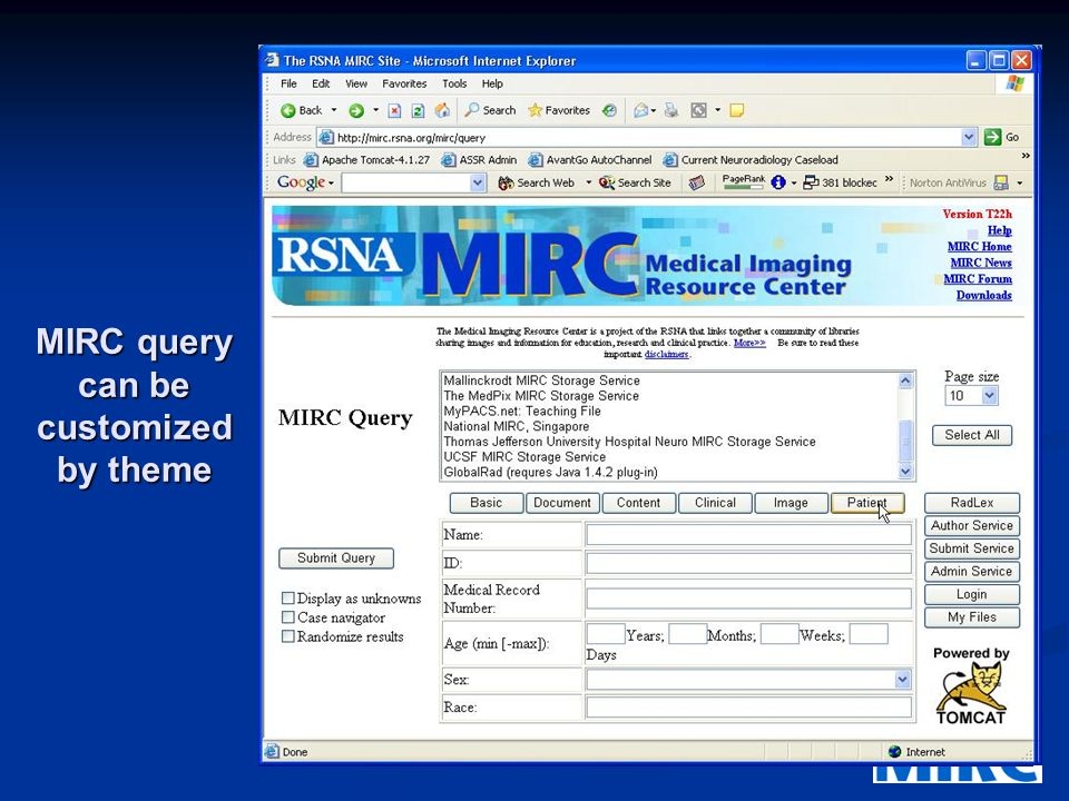 MIRC Internet Server Index Server Index MIRC site Server Index Query Service MIRC site Server Index RSNA site User MIRC site