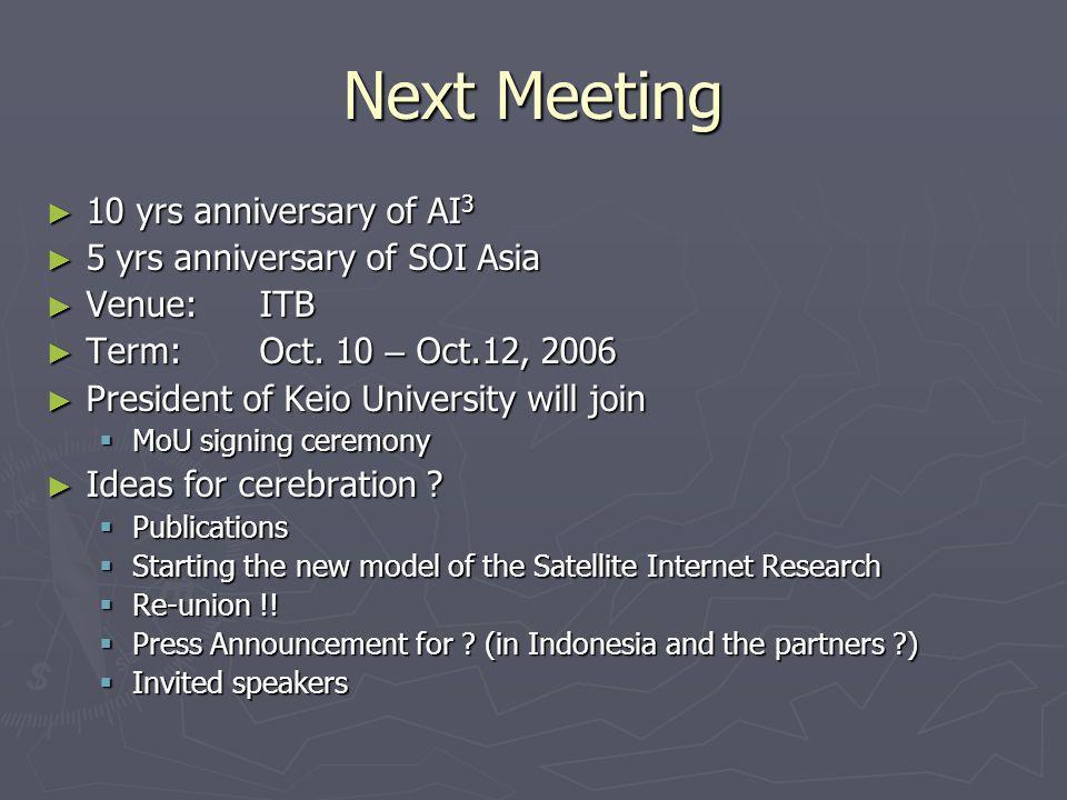 Next Meeting 10 yrs anniversary of AI 3 10 yrs anniversary of AI 3 5 yrs anniversary of SOI Asia 5 yrs anniversary of SOI Asia Venue:ITB Venue:ITB Term:Oct.