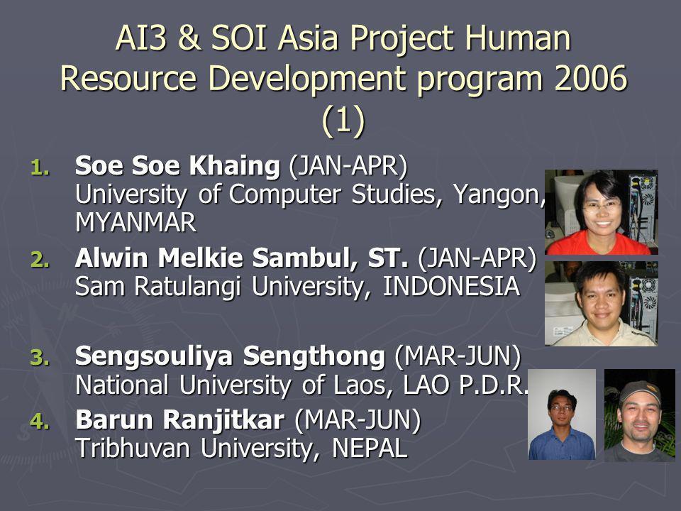 AI3 & SOI Asia Project Human Resource Development program 2006 (1) 1.