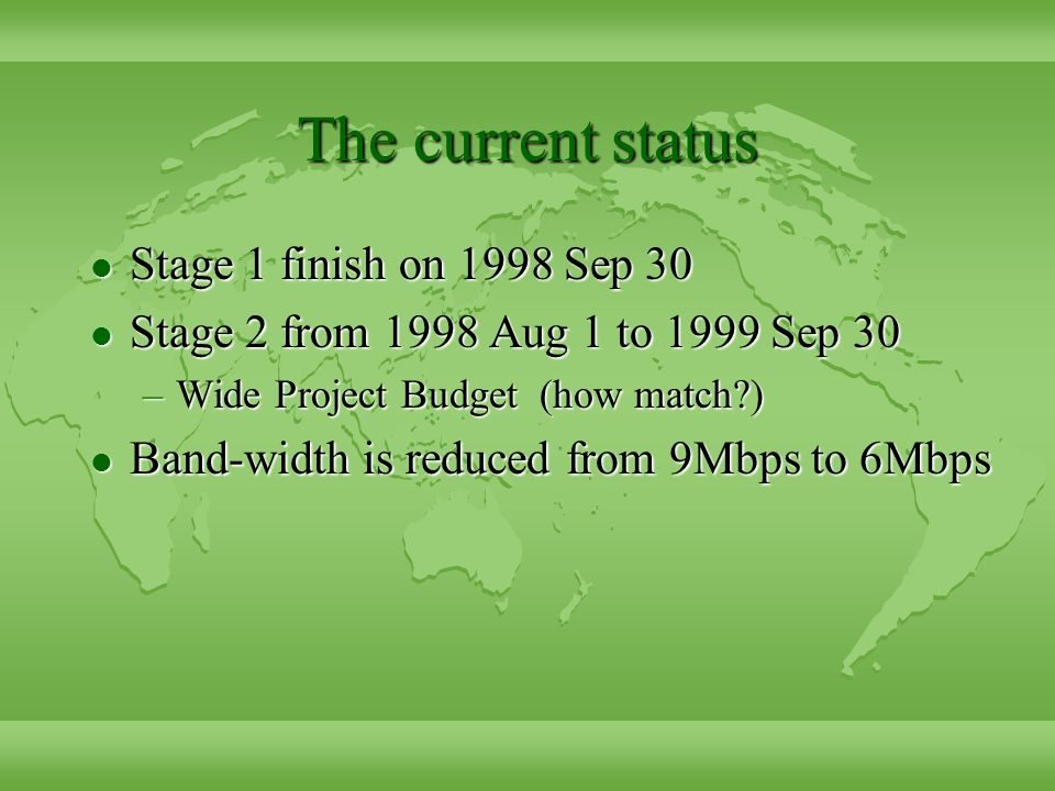 The current status l Stage 1 finish on 1998 Sep 30 l Stage 2 from 1998 Aug 1 to 1999 Sep 30 –Wide Project Budget (how match ) l Band-width is reduced from 9Mbps to 6Mbps