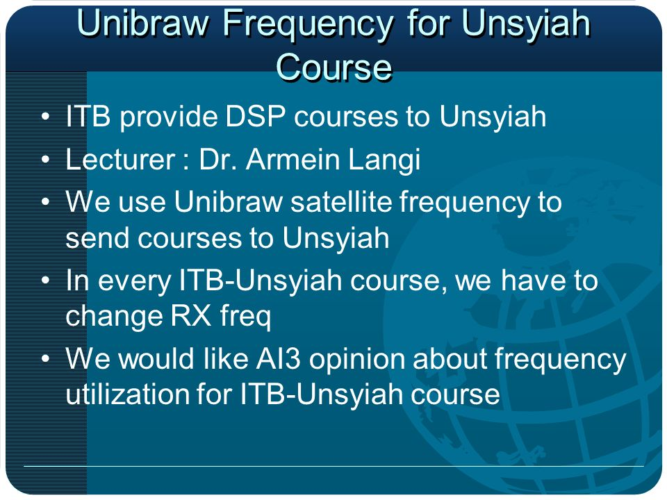 Unibraw Frequency for Unsyiah Course ITB provide DSP courses to Unsyiah Lecturer : Dr.