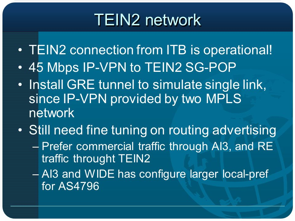 TEIN2 network TEIN2 connection from ITB is operational.