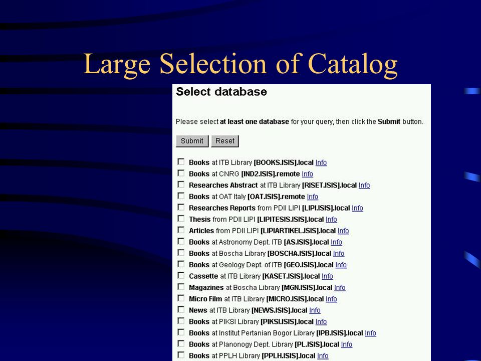 Large Selection of Catalog