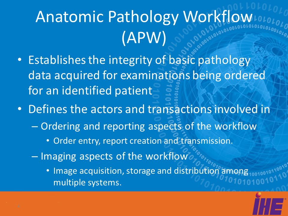 Anatomic Pathology Workflow (APW) Order Placer Image Mgmt Acquisition Modality Order Mgmt Order Filler Care WardAnatomic Pathology Laboratory Hospital Image Archive/ Image Manager (PACS) Order result tracker Report Mgmt