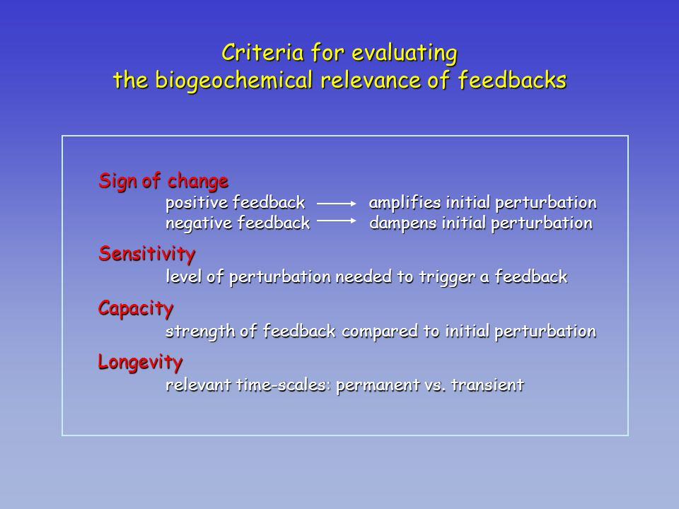 Criteria for evaluating the biogeochemical relevance of feedbacks Sign of change positive feedback amplifies initial perturbation negative feedbackdam