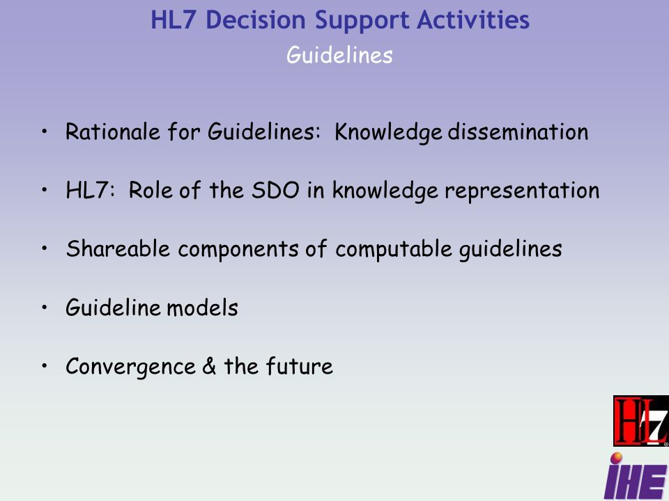 Rationale for Guidelines: Knowledge dissemination HL7: Role of the SDO in knowledge representation Shareable components of computable guidelines Guideline models Convergence & the future HL7 Decision Support Activities Guidelines