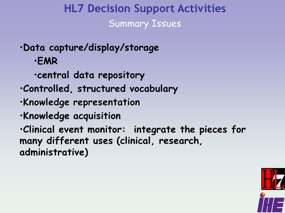 HL7 Decision Support Activities Summary Issues Data capture/display/storage EMR central data repository Controlled, structured vocabulary Knowledge representationKnowledge representation Knowledge acquisition Clinical event monitor: integrate the pieces for many different uses (clinical, research, administrative)