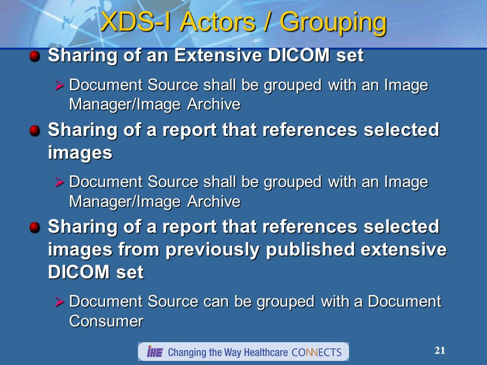 21 XDS-I Actors / Grouping Sharing of an Extensive DICOM set Document Source shall be grouped with an Image Manager/Image Archive Document Source shal