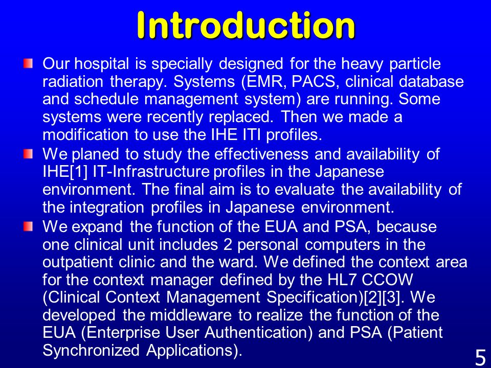 4 Content Necessity of single sign-on and synchronized patient selection Explanation of IHE ITI and CCOW How to organize the EUA/PSA function Pitfall