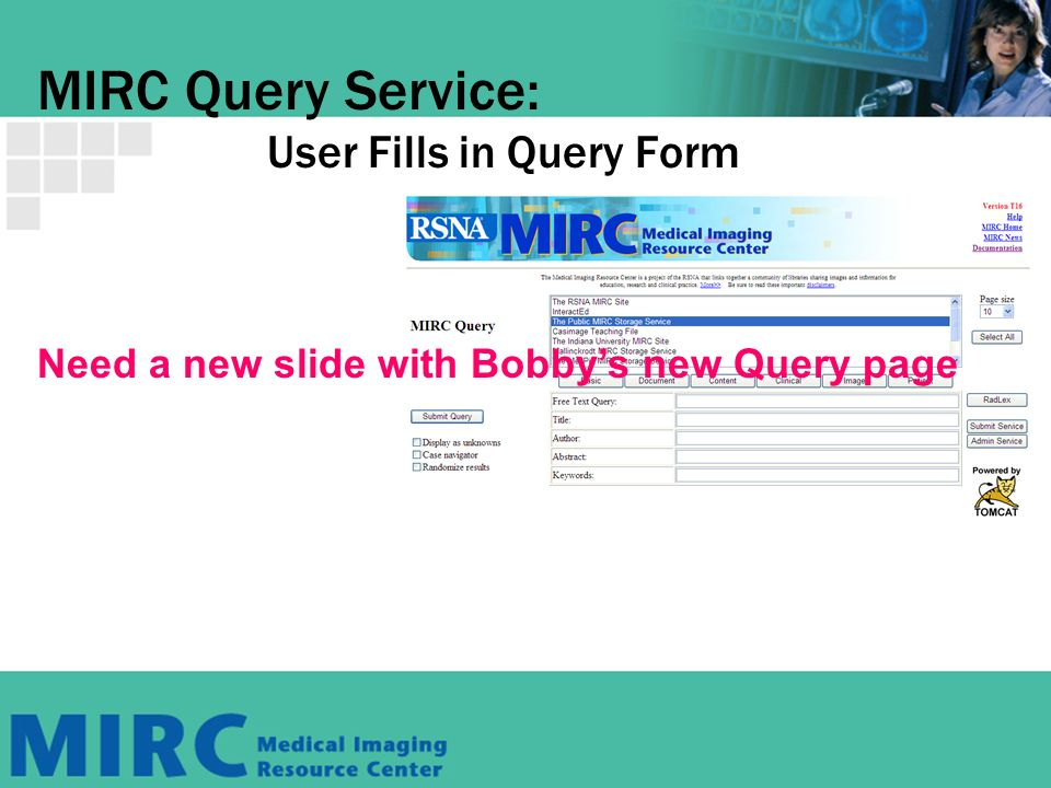 MIRC Query Service: User Fills in Query Form Need a new slide with Bobbys new Query page