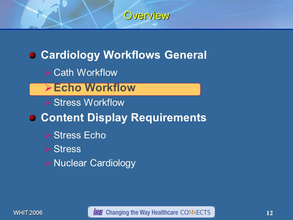 WHIT 2006 12 Overview Cardiology Workflows General Cath Workflow Echo Workflow Stress Workflow Content Display Requirements Stress Echo Stress Nuclear