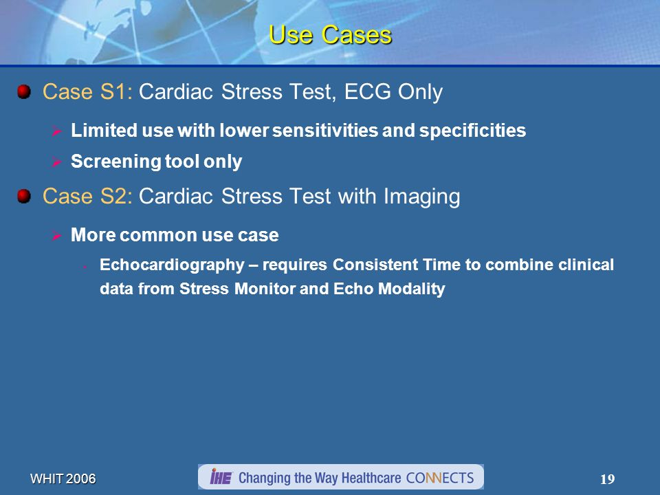 WHIT 2006 19 Use Cases Case S1: Cardiac Stress Test, ECG Only Limited use with lower sensitivities and specificities Screening tool only Case S2: Card