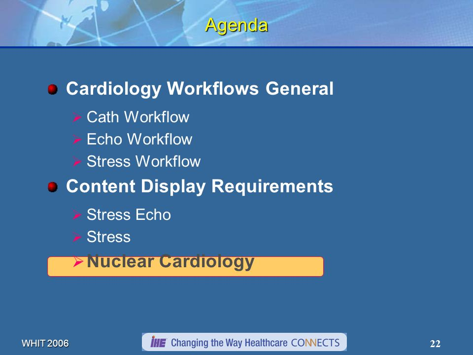 WHIT 2006 22 Agenda Cardiology Workflows General Cath Workflow Echo Workflow Stress Workflow Content Display Requirements Stress Echo Stress Nuclear C