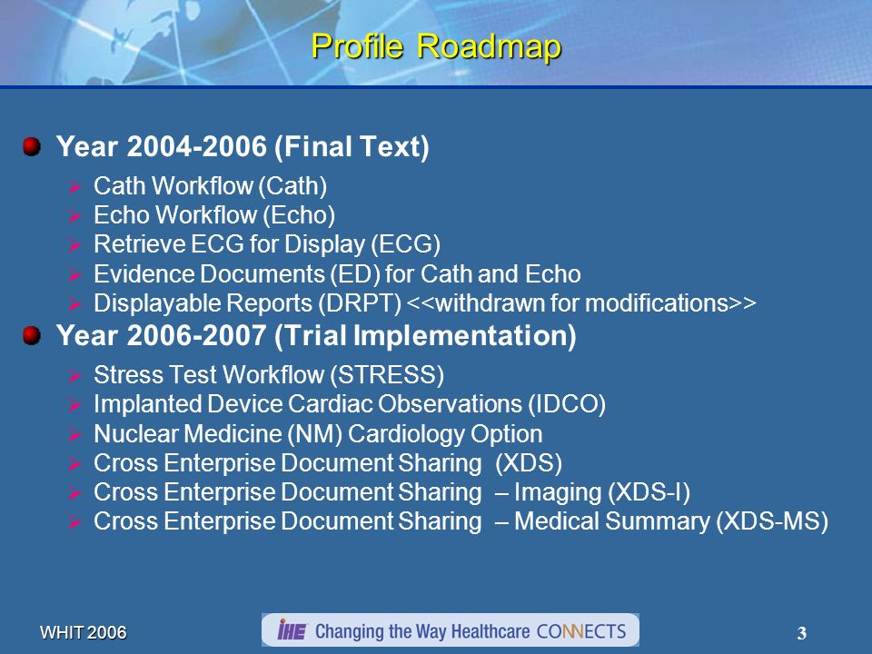 WHIT 2006 3 Profile Roadmap Year 2004-2006 (Final Text) Cath Workflow (Cath) Echo Workflow (Echo) Retrieve ECG for Display (ECG) Evidence Documents (ED) for Cath and Echo Displayable Reports (DRPT) > Year 2006-2007 (Trial Implementation) Stress Test Workflow (STRESS) Implanted Device Cardiac Observations (IDCO) Nuclear Medicine (NM) Cardiology Option Cross Enterprise Document Sharing (XDS) Cross Enterprise Document Sharing – Imaging (XDS-I) Cross Enterprise Document Sharing – Medical Summary (XDS-MS)