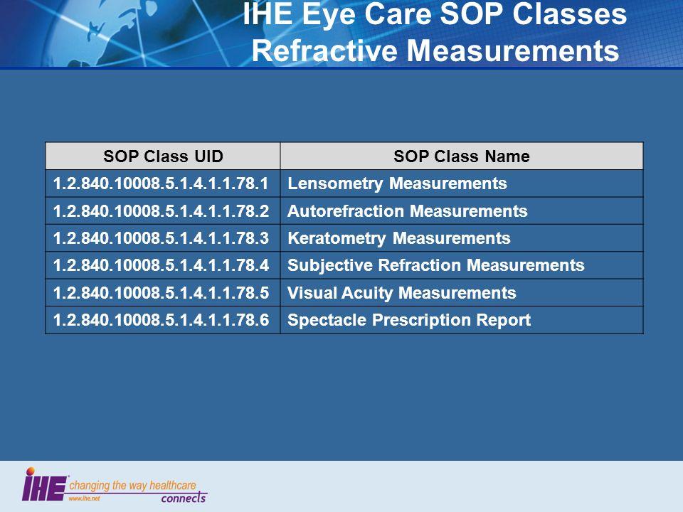 IHE Eye Care SOP Classes Refractive Measurements SOP Class UIDSOP Class Name 1.2.840.10008.5.1.4.1.1.78.1Lensometry Measurements 1.2.840.10008.5.1.4.1