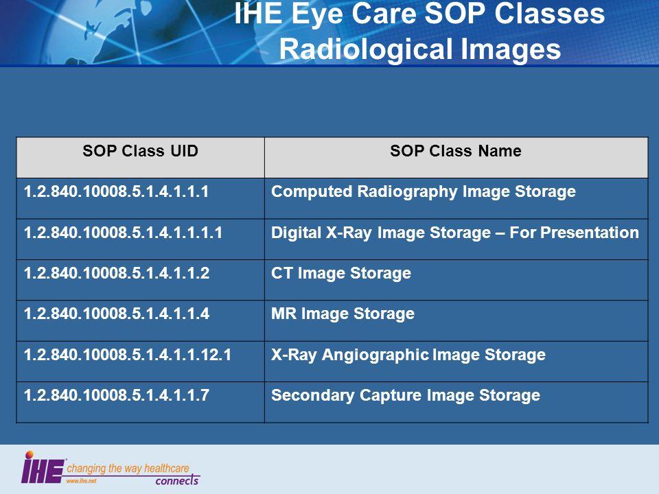 IHE Eye Care SOP Classes Evidence Documents SOP Class UIDSOP Class Name 1.2.840.10008.5.1.4.1.1.104.1Encapsulated PDF Storage The PDF contents of the DICOM Encapsulate PDF objects shall conform to PDF/A-1a