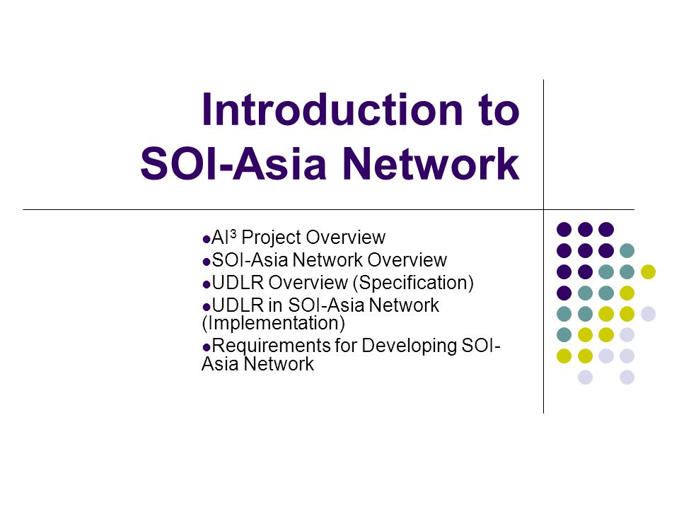 Introduction to SOI-Asia Network AI 3 Project Overview SOI-Asia Network Overview UDLR Overview (Specification) UDLR in SOI-Asia Network (Implementatio