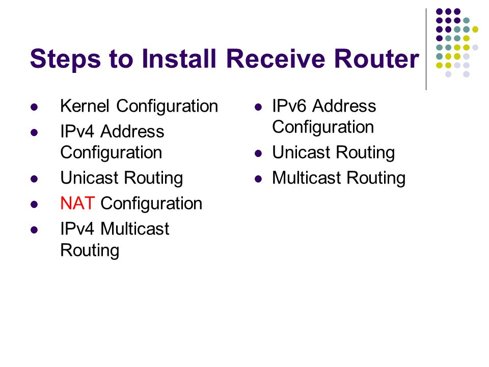 Steps to Install Receive Router Kernel Configuration IPv4 Address Configuration Unicast Routing NAT Configuration IPv4 Multicast Routing IPv6 Address