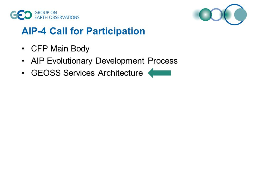 AIP-4 Call for Participation CFP Main Body AIP Evolutionary Development Process GEOSS Services Architecture